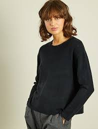 knitted cropped sweater size 34 to 48 black kiabi