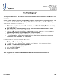 Cover Letter For Electrical Engineer Job Description Of Electrical Engineer Resignation Letter For