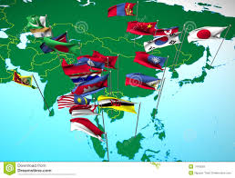 Southeastern United States Map by Asia Flags On Map Southeast View Royalty Free Stock Images