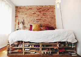 Pallet Platform Bed 22 Amazing Ways To Store Your Shoes Pallet Platform Bed