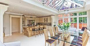 open plan kitchen conservatory extends an edwardian warwickshire