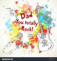 happy fathers day card guitar microphone stock vector 103843301