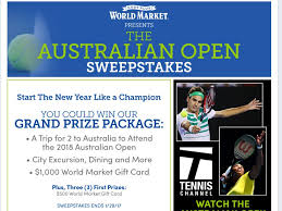 cost plus world market australian open sweepstakes