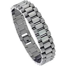 silver rolex bracelet images Stainless steel men 39 s rolex style bracelet 16 mm wide 8 5 inch jpg