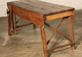 Primitive Industrial Farmhouse Style Dining Table Workbench With - Primitive kitchen tables