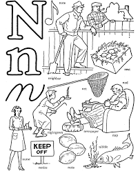 n coloring sheets words for n free alphabet coloring pages