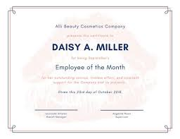 blue coral and white employee of the month certificate