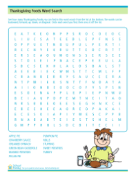 thanksgiving foods word search schoolfamily