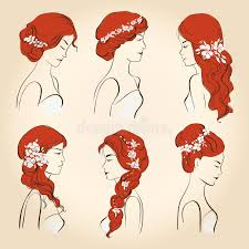 set of different wedding hairstyles with flowers for red hair
