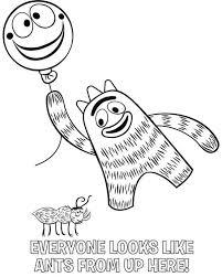 brobee holding balloon smile ant yo gabba gabba