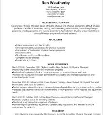 Sample Occupational Therapist Resume by Absolutely Ideas Physical Therapy Resume Sample 10 Professional