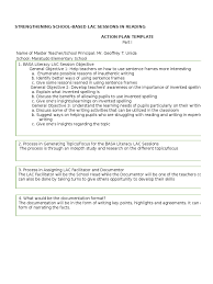 lac session template action plan mes literacy applied psychology