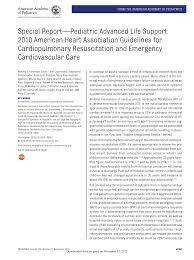 special report pediatric advanced life support 2010 american