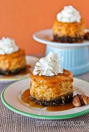 mini pumpkin cheesecakes with gingersnap crust from the oven