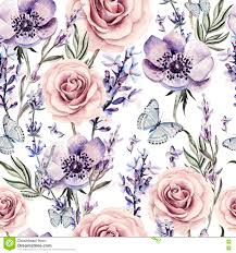 Lavender Roses Watercolor Pattern With The Colors Of Lavender Roses And Anemone
