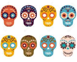 day of the dead sugar skulls flower skull vector set royalty free