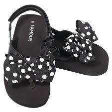l u0027amour black polka dot bow wedge flip flop sandals toddler girls