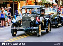Automotive Flags 1930s Vehicle Patriotic Parade And Show Of Flags At The Memorial