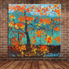 popular painting wall mural buy cheap painting wall mural lots cheap art yellow leaves tree oil painting modern abstract blue art canvas painting wall mural picture