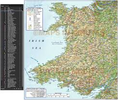 Map Of Wales Digital Vector Wales County Road Rail Plus Regular Relief Map At