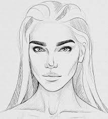 drawn profile lady side face pencil and in color drawn profile