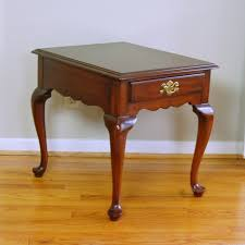 Henkel Harris Solid Cherry End Table In Queen Anne Style Ebth
