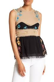 cynthia rowley blouse cynthia rowley embroidered edge sleeveless blouse