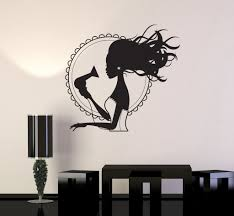 wall decal beauty salon hair dryer stylist woman barbershop vinyl