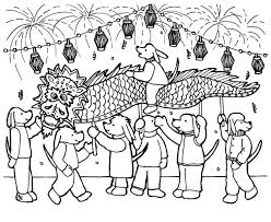 chinese new year having fun with many people coloring page kids