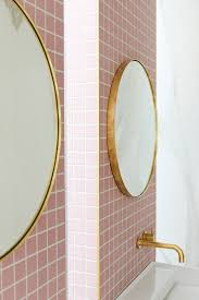 Pink Tile A Gorgeous Pink Tiled Bathroom With Gold Hardware