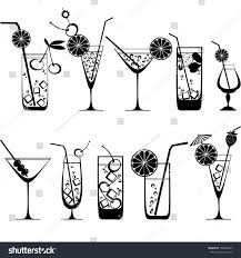 cocktail clipart black and white cocktail collection isolated on white background stock