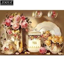 broderie cuisine zooya 5d bricolage diamant broderie cuisine pleine fleur carré