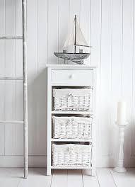 free standing bathroom storage new haven white tall basket unit