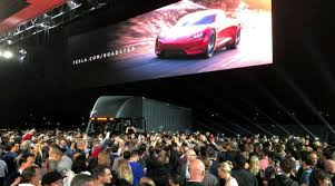 tesla unveils electric truck semi sporty roadster experiencing