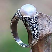 pearl rings images Balinese sterling silver and cultured pearl women 39 s ring jpg