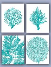 coral home decor sea fan collection prints set of 4 11x14 seafan coral home