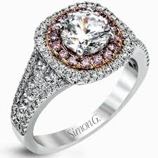 simon g engagement rings g 18k white and gold prong set halo engagement ring
