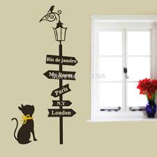 aliexpress com buy home decoration ancient lamp cats signpost aliexpress com buy home decoration ancient lamp cats signpost wall stickers decals adesivo de parede kids rooms decor diy cartoon wallpaper from reliable