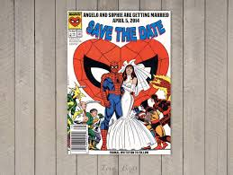Spiderman Invitation Cards Comic Book Wedding Invitation Spider Man Save The Date
