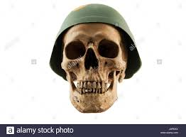 halloween stock background human skull in soldier helmet on white isolated background concept