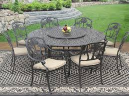 Round Table Patio Dining Sets - palm tree cast aluminum outdoor patio 9pc set 8 dining chairs 71