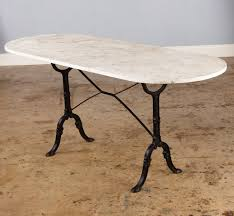 Oval Bistro Table Bistro Table With Oval White Marble Top 1920s At 1stdibs