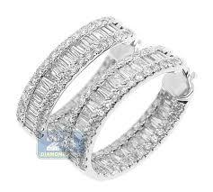 white gold diamond hoop earrings 14k white gold 4 12 ct baguette diamond hoop earrings 1 inch