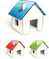 simple houses image of three simple houses with different roof colors stock