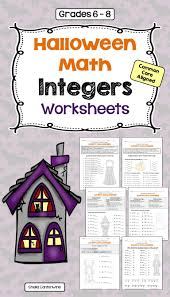 halloween integers worksheets worksheets math and middle