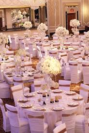 reception décor photos all white chair covers with gold bands
