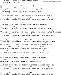 lights down low guitar chords country music it s the little things sonny james lyrics and chords