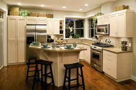 u shape kitchen decoration using backless black wood kitchen chair