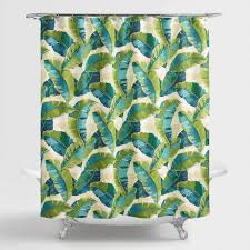 aqua and green tropicale leaf shower curtain world market
