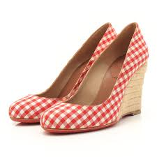 authentic christian louboutin wedge sole pumps espadrille red